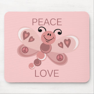 PEACE AND LOVE DRAGONFLY MOUSE PAD