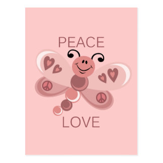 PEACE AND LOVE DRAGONFLY POSTCARD