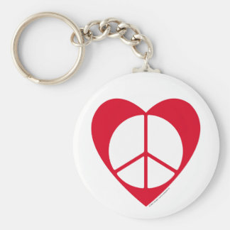 Peace and Love Heart Key Chain