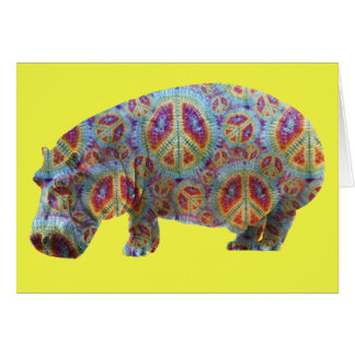 Peace and Love Hippie Hippopotamus Birthday Card