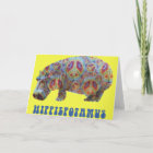 Peace and Love Hippie Hippy Hippopotamus Card