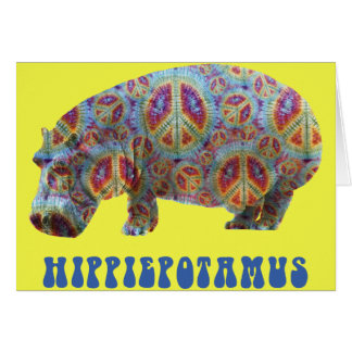 Peace and Love Hippie Hippy Hippopotamus Card