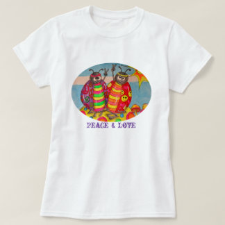 Peace and Love Hippie Lady Bugs Tshirt