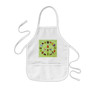 peace and love insects kids apron
