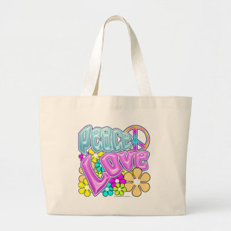 Peace And Love Large Tote Bag