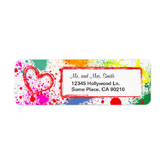Peace and Love Paint Splatter (customizable) Return Address Label