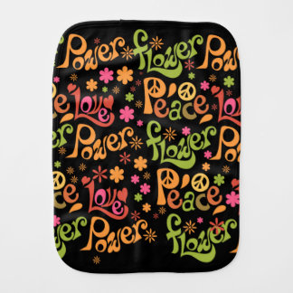 Peace and Love Pattern Burp Cloth