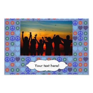 Peace and love pattern photographic print