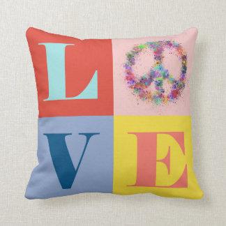 Peace and Love   Pop   Modern Throw Pillow