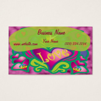 Peace and Love Retro Style Business Card