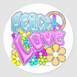 Peace And Love Round Stickers