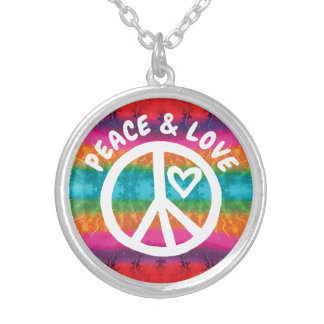 Peace and Love Tie Dye Stripes Silver Plated Necklace