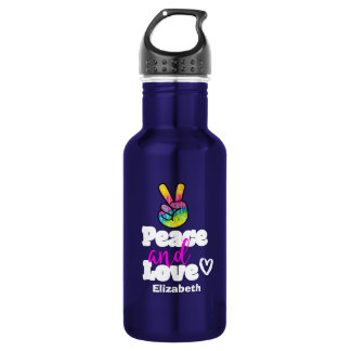 Peace and Love Typography Rainbow Hand Peace Sign 532 Ml Water Bottle