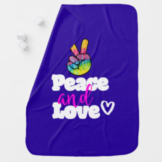 Peace and Love Typography Rainbow Hand Peace Sign Baby Blanket