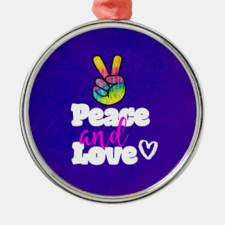Peace and Love Typography Rainbow Hand Peace Sign Christmas Ornament