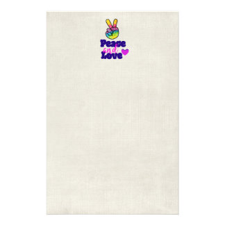 Peace and Love Typography Rainbow Hand Peace Sign Custom Stationery