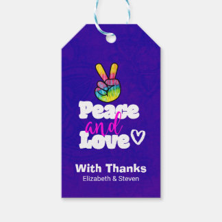 Peace and Love Typography Rainbow Hand Peace Sign Gift Tags