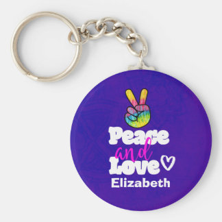 Peace and Love Typography Rainbow Hand Peace Sign Key Ring
