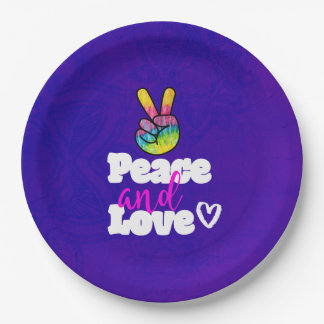 Peace and Love Typography Rainbow Hand Peace Sign Paper Plate