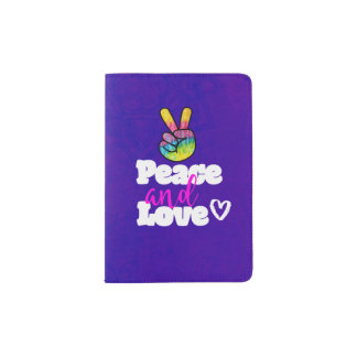 Peace and Love Typography Rainbow Hand Peace Sign Passport Holder