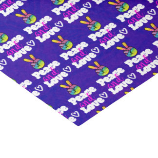 Peace and Love Typography Rainbow Hand Peace Sign Tissue Paper