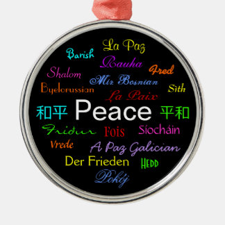 Peace Around the World In Black IV Ornament