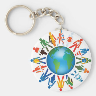 Peace Around The World Basic Round Button Key Ring