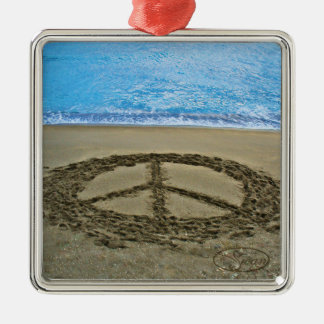 peace at the ocean christmas ornament