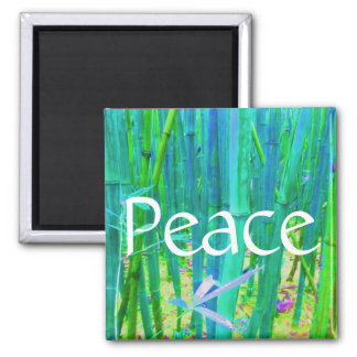 Peace Bamboo Blue and Green Magnet