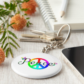 Peace Basic Round Button Key Ring