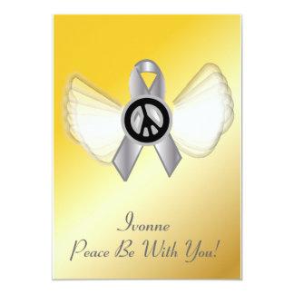 Peace Be With YouLung Brain Cancer Ribbon-Cust. 13 Cm X 18 Cm Invitation Card