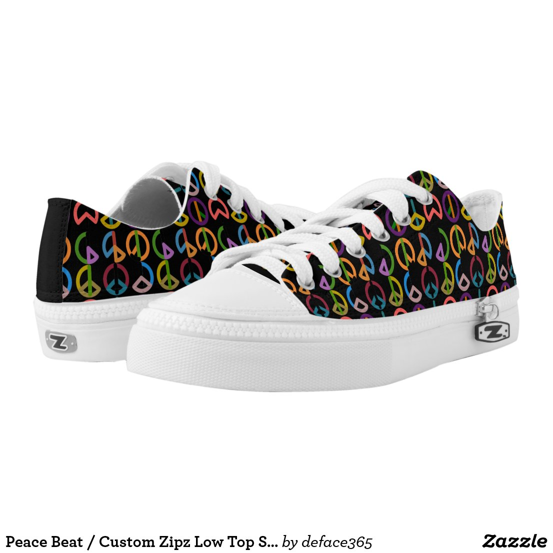 Peace Beat / Custom Zipz Low Top Shoes