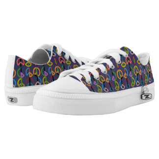 Peace Beat / Custom Zipz Low Top Shoes (Blue) Printed Shoes