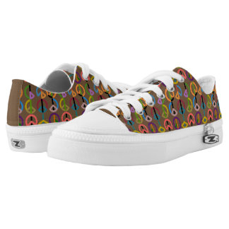 Peace Beat / Custom Zipz Low Top Shoes (Brown) Printed Shoes