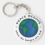 Peace Begins Basic Round Button Key Ring