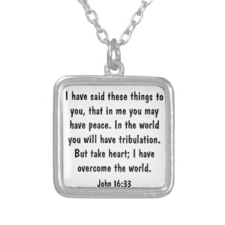 peace bible verse for encouragement John 16:33 Custom Necklace