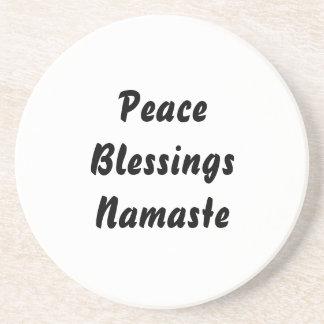 Peace, Blessings, Namaste. Black White Drink Coaster