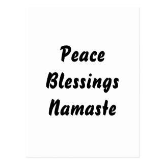 Peace, Blessings, Namaste. Black White Post Card
