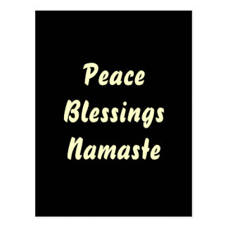 Peace, Blessings, Namaste. Postcard