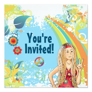 Peace Blond Hippie Girl Birthday Party Invitation
