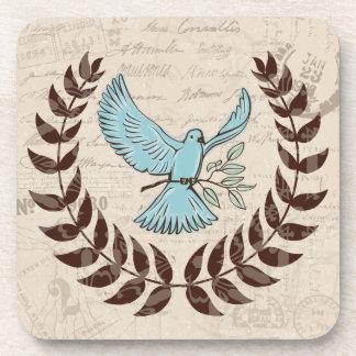 Peace Blue Dove Hard Coaster Set