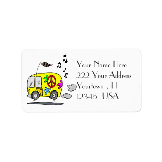 Peace Bus Retro  Address Label