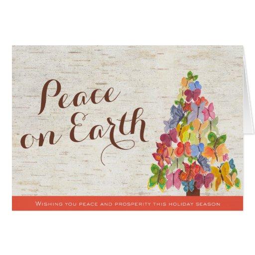 Peace Butterflies Folded Business Christmas Card