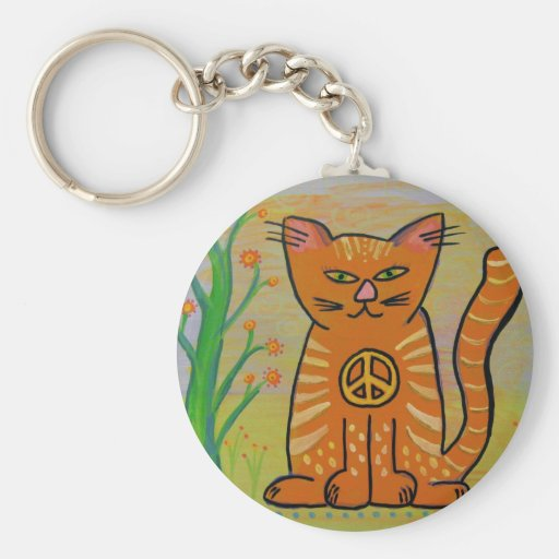 Peace Cat with Flowers Basic Round Button Key Ring