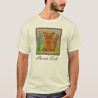 Peace Cat with Flowers T-Shirt