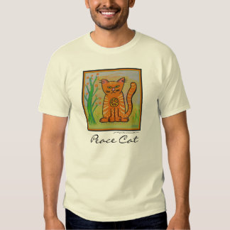Peace Cat with Flowers T Shirts