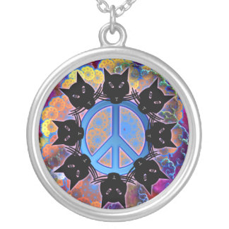 peace cats round pendant necklace
