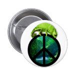 peace chameleon button