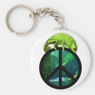 peace chameleon key ring
