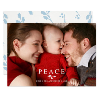 Peace Christmas Holly Branch Simple Photo Overlay Card